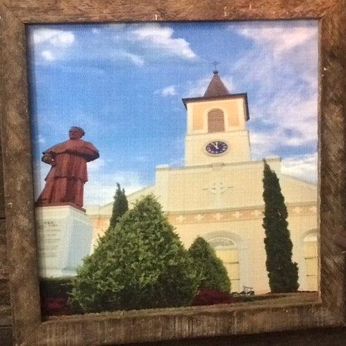 Saint Martin de Tours Church and Father Jan, 18 x 18