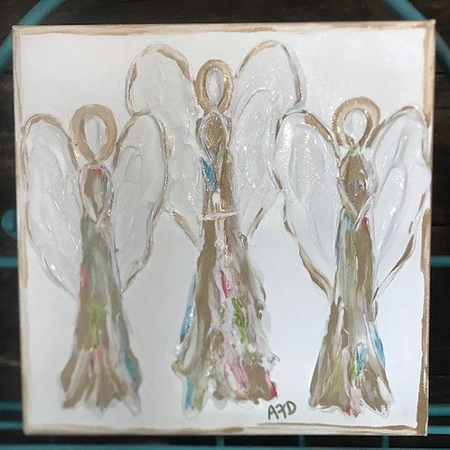 Covered With Paint Angel Trio Canvas