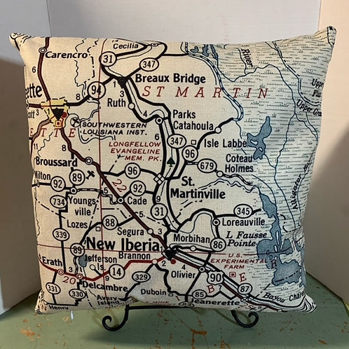 St. MARTINVILLE MAP PILLOW