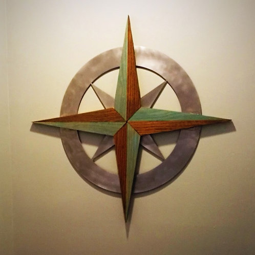 "Compass Rose, 42"" Polished Aluminum and Wood"