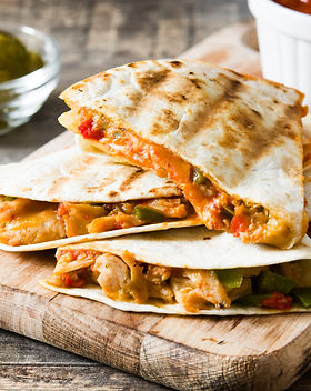 Mexican quesadilla with chicken, cheese