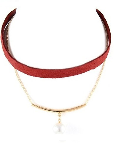 Red, Chains & Peals Choker