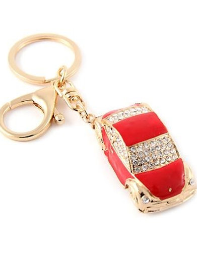 Blinged Out Red Car Keychain