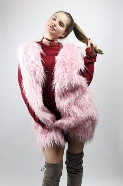 Powder Pink Faux Fur Vest