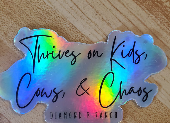Kids, Cows, & Chaos Sticker