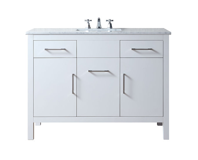 "Atreus 48"" White Single Sink Vanity with Carrara Marble Top"