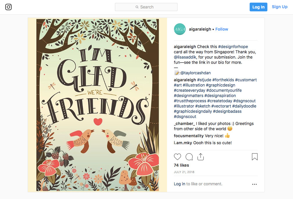 AIGA Instagram Feature for I'm glad we're friends