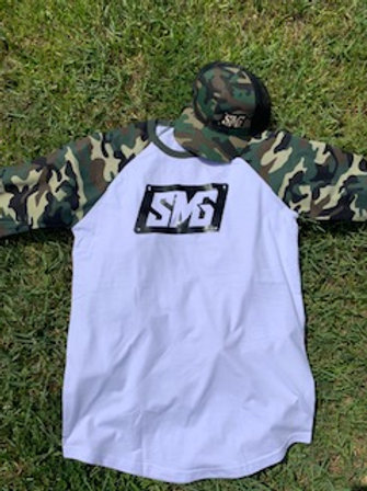 Camo/White Adult Quater Sleeve