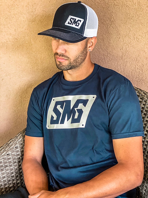 Navy Blue & White SMG shirt