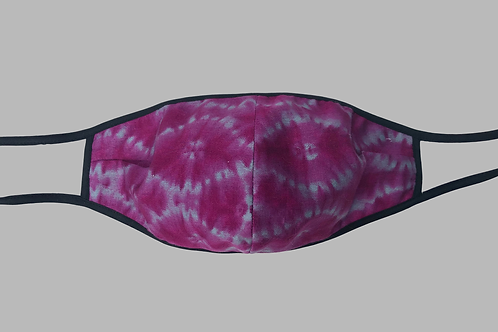 Double-Layer Face Mask - Pink/Gray Tie-dye Cotton