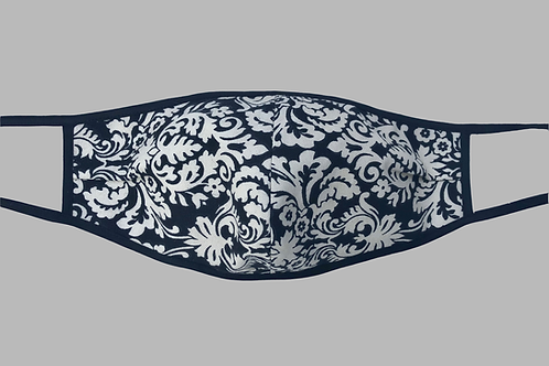 Double-Layer Face Mask - Black/Cream Paisley Cotton
