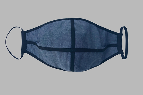 Double-Layer Face Mask - Gray Denim with Black Trims