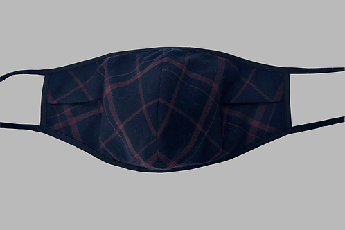 Double-Layer Face Mask - Navy/Brown Plaid Cotton Blend