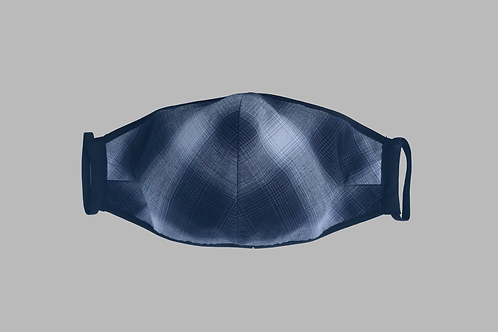 Double-Layer Face Mask - Navy/White Plaid Cotton