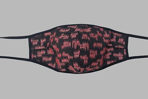 Double-Layer Face Mask - Black/Coral Silk