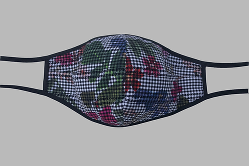 Double-Layer Face Mask - Gingham with Pink/Red/Blue/Green Floral Cotton
