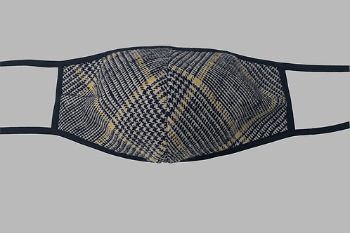 Double-Layer Face Mask - Black/Cream/Yellow Plaid Raw Silk