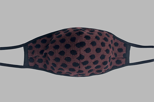 Double-Layer Face Mask - Brown/Black Dots in Linen/Cotton