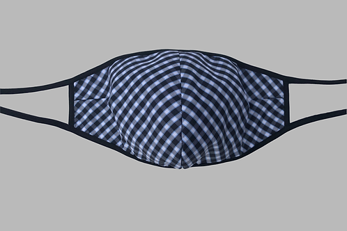 Double-Layer Face Mask - Black/White Gingham Cotton Blend