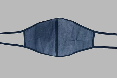 Double-Layer Face Mask - Gray Denim Cotton with Vertical Trim