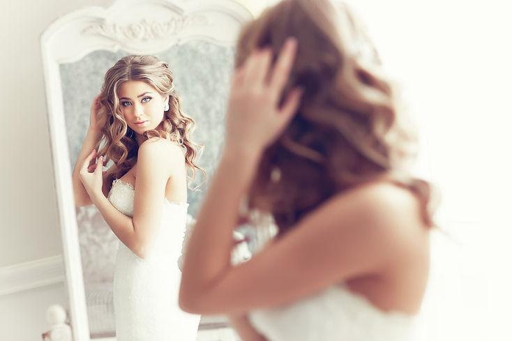 Boudoir Bride Looking in Mirror