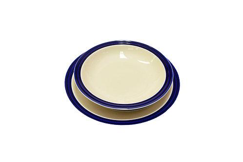 Set 18 piatti porcellana con bordo blu