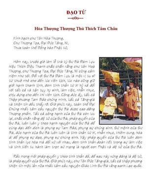Điếu Văn Của Hòa Thượng Thượng Thủ Thích Tâm Châu
