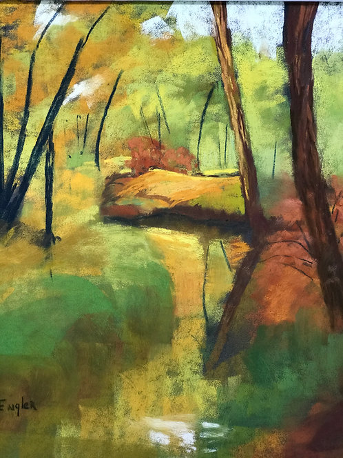 Stream Near Woods Edge, Pastel