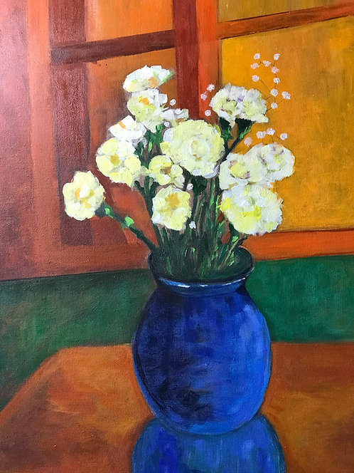 Yellow Carnations in a Blue Vase