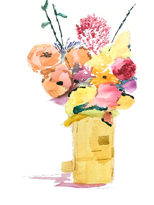 Flowers and Spray in Glass Jar, Watercolor