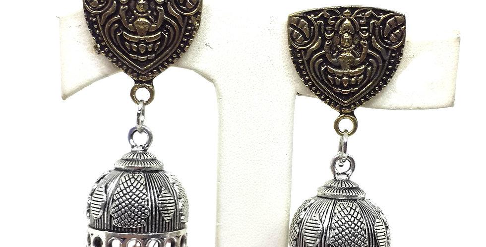 Oxidise temple earrings