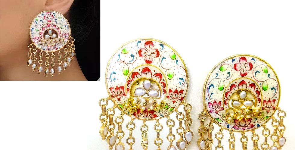 Handpainted enamel earrings