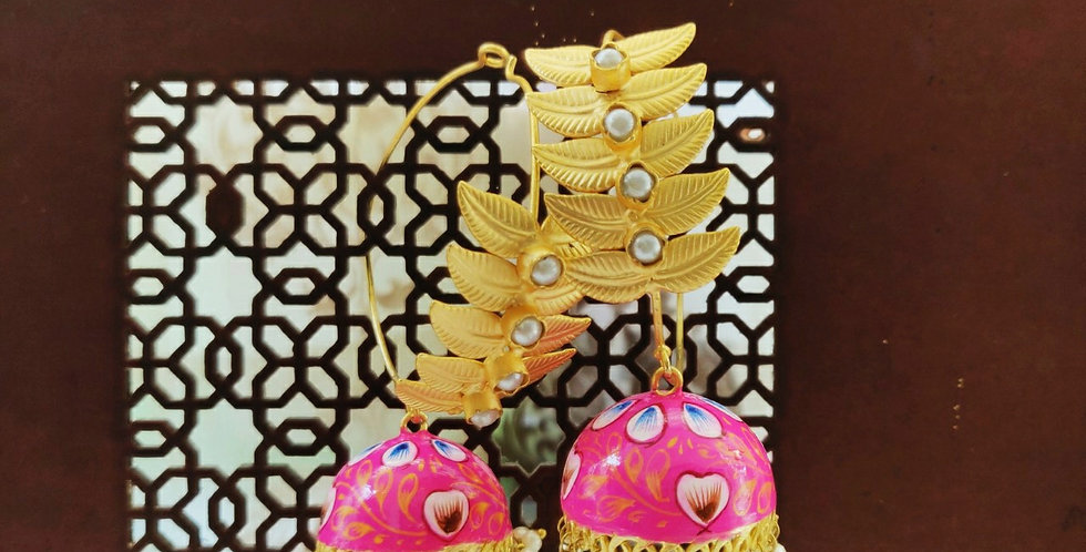 Big bali with handpainted jhumki