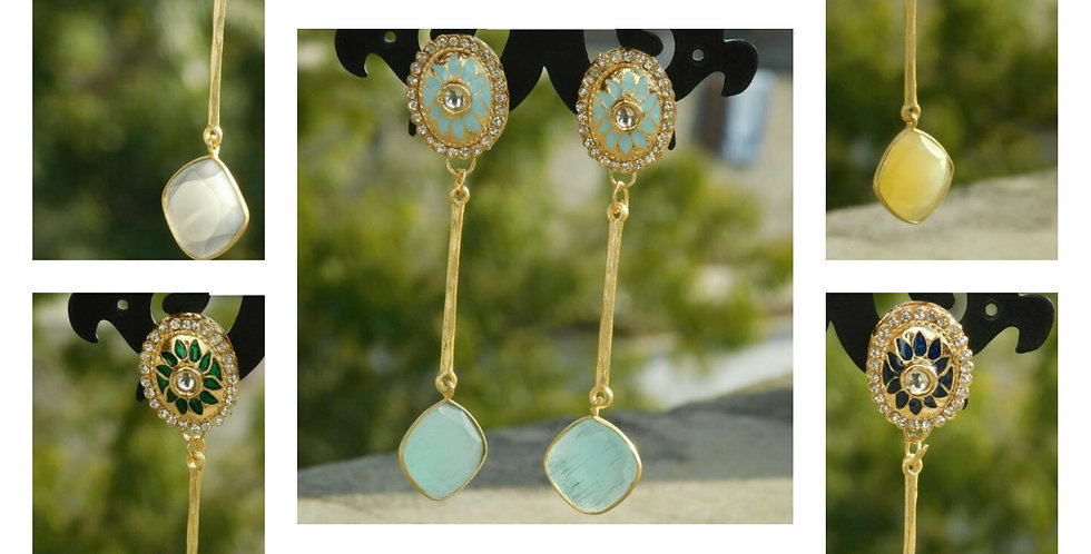 Light weight earrings with colour stone hangings