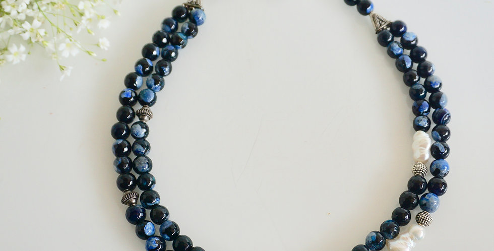 Azure bead necklace