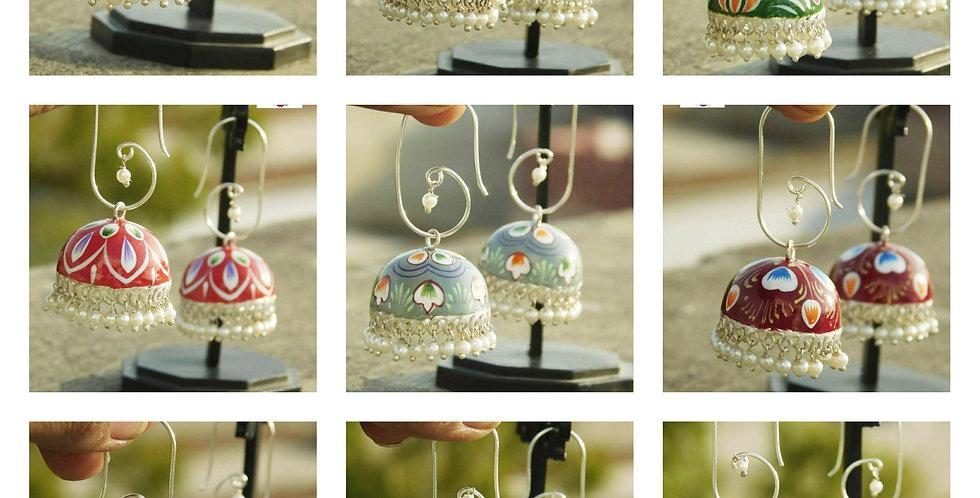 Hand painted enamel earrings