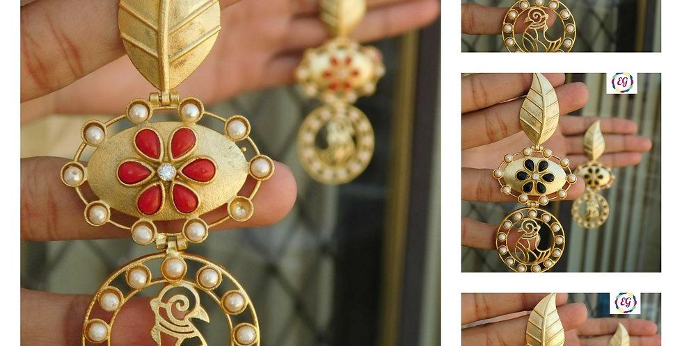 Stone and pearl  studded Bollywood earrings