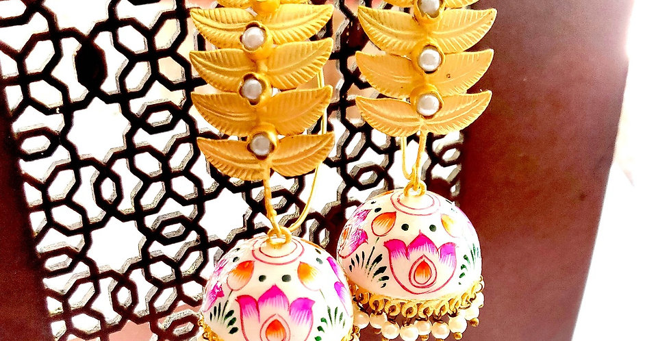 Big bali with hand painted jhumki