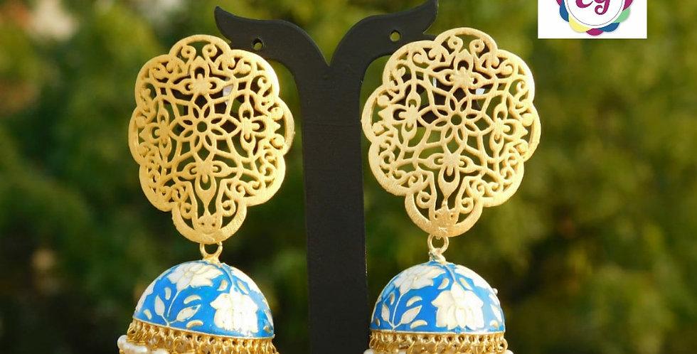 Enamel jhumki earrings