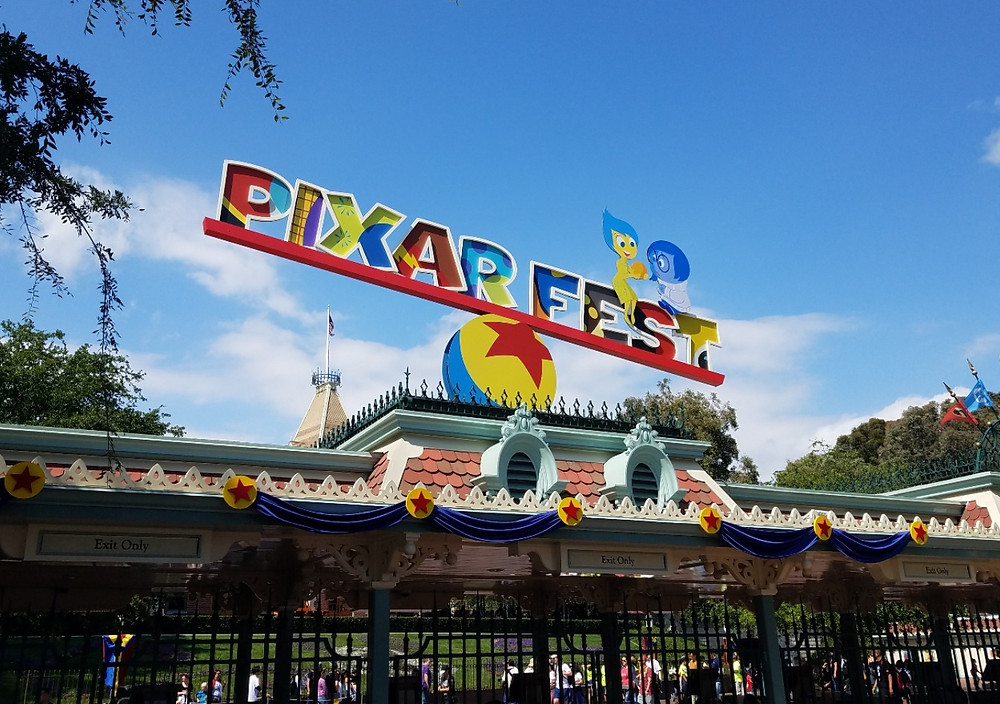 Pixar Fest signage at Disneyland
