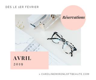 Réservations Avril 2019