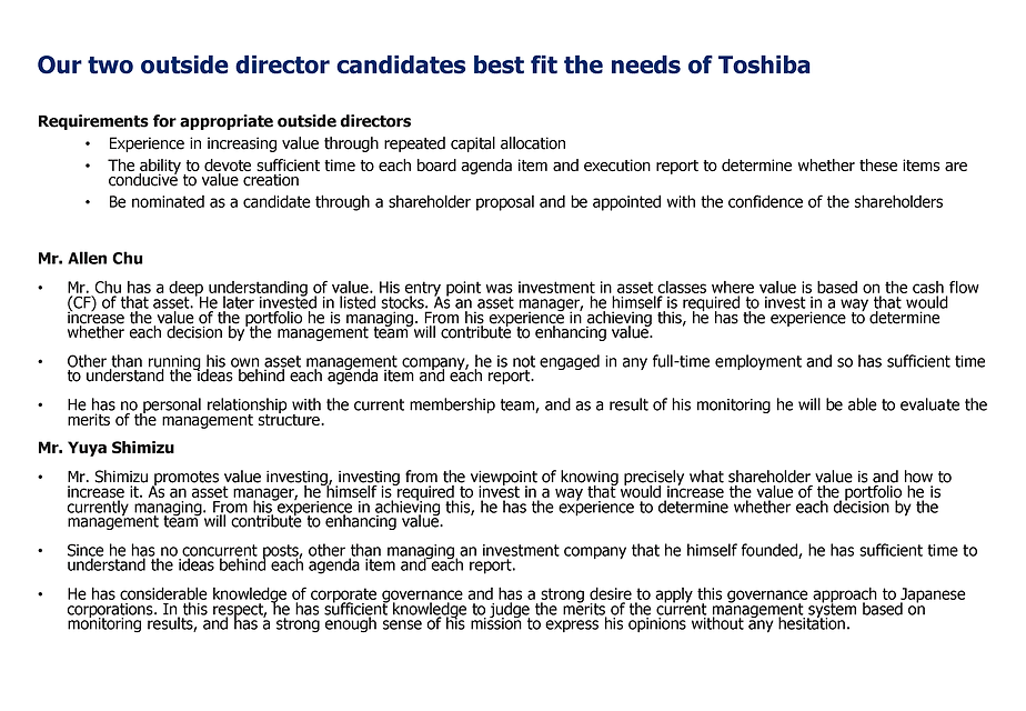 3D Opportunity Master Fund propose two outside director candidates for Toshiba