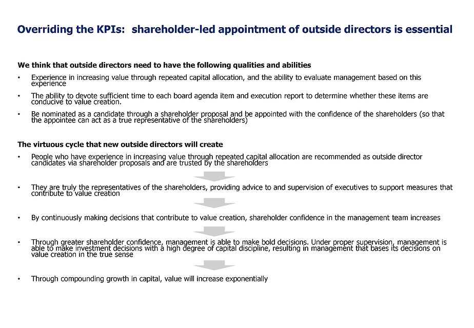 Shareholder-led appointment of outside directors is essential for Toshiba