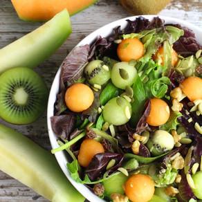 Purple Oak Lettuce and Fruit Ball Salad
