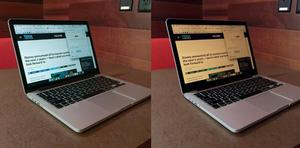 Regular screen vs F.lux Screen at night