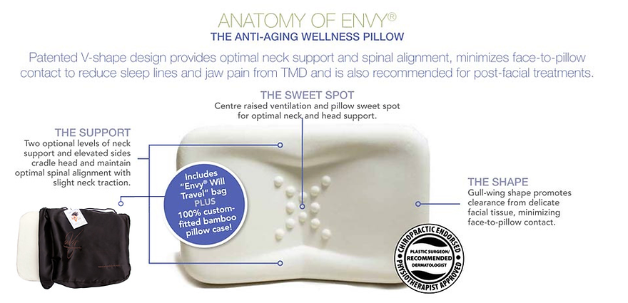 enVy the sleep wrinkle pillow and neck support pillow