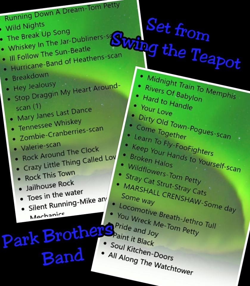 SWING THE TEAPOT SET LIST
