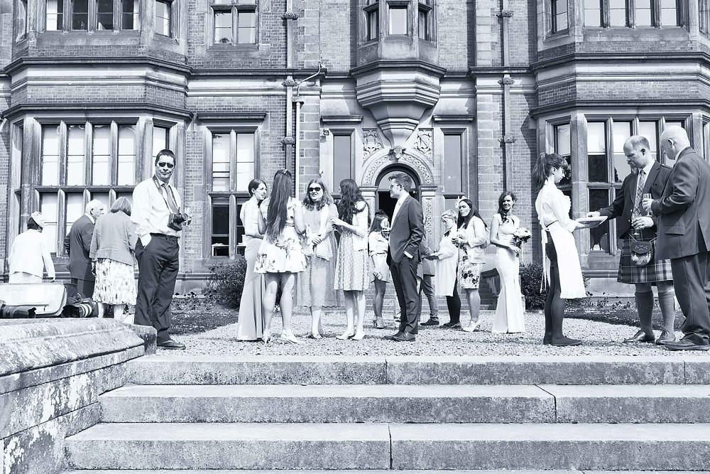 wedding guests at a wedding at Beaumanor hall