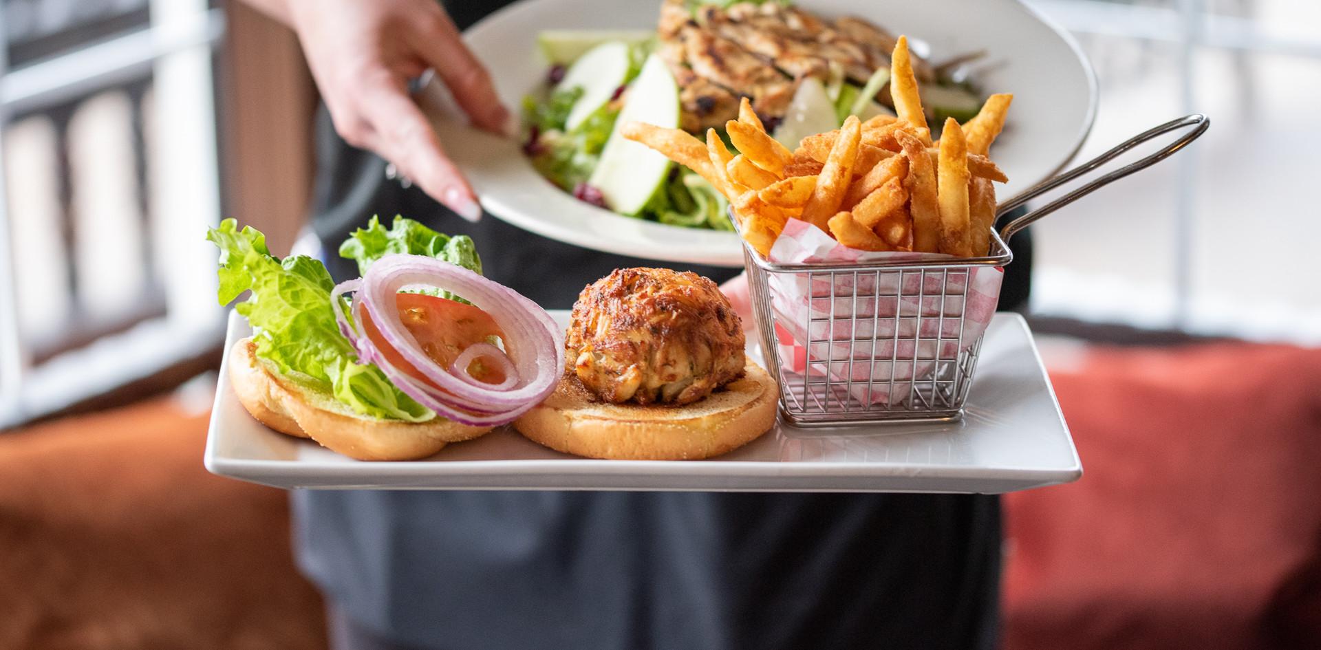 Harvest Chicken Salad and a Crab Cake Sandwich