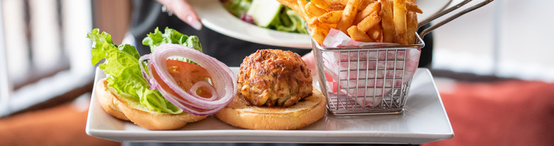 Harvest Chicken Salad and a Crab Cake Sandwich